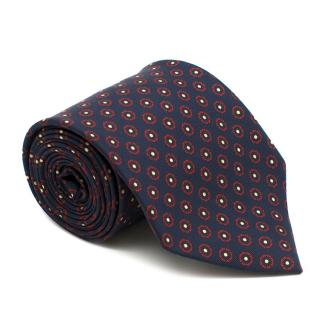E. Marinella Navy Floral Silk Tie