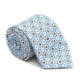 Marzullo Blue & White Pattern Silk Tie
