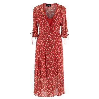 The Kooples Red Rose Print Wrap Dress