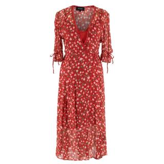 The Kooples Red Rose Print Wrap Dress