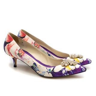 Brian Atwood Floral Pattern Silk Kitten Heel Embellished Pumps