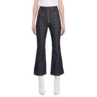 Ellery Blue High Waisted Zip Front Cropped Flared Jeans