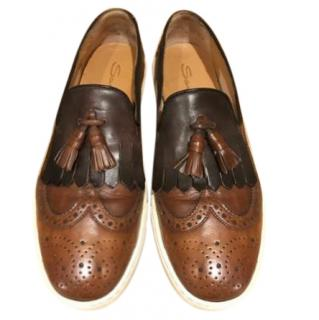 Santoni Men�s Brown Brogue Sneakers
