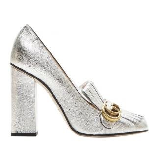 Gucci metallic leather marmont block heel pumps