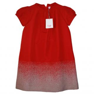 Il Gufo Girl�s 10 Years Mohair Trim Red Dress