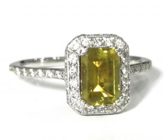 Bespoke emerald cut Peridot and Diamond ring