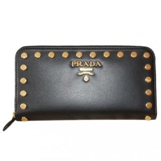 Prada Black Leather Studded Zip-Around Wallet