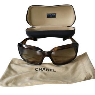 Chanel Tortoiseshell Oversize Square Sunglasses