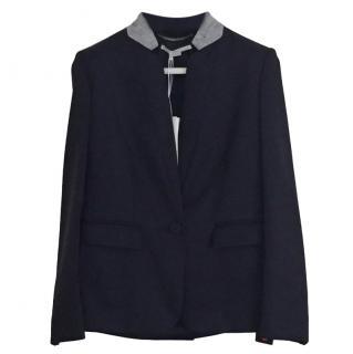 STella McCartney Navy Wool Blazer W/ Grey Collar