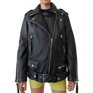 Acne Studios Myrtle Oversize Black Leather Jacket