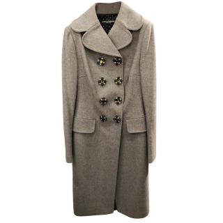 Dolce & Gabbana grey wool coat with embellished buttons