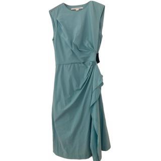 Diane Von Furstenberg Blue Sleeveless Gathered Dress
