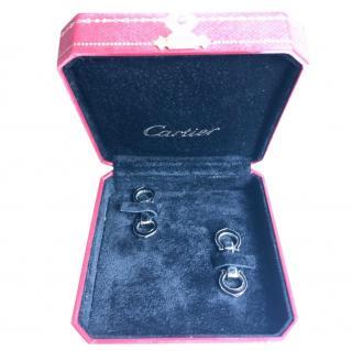 Cartier elongated silver and enamel C cufflinks