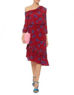 Saloni Red Floral Printed Asymmetric Silk Dress