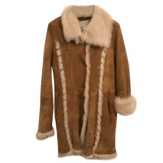 Marc Cain Tan Sheepskin Coat