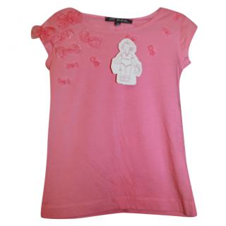 Lili Gaufrette Girl's 10 years pink bow embellished top