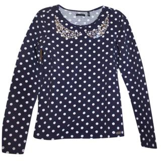 IKKS Girl's 10 years polka dot crystal embellished top
