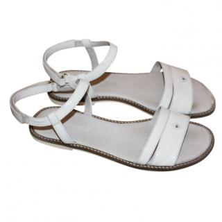 Armani Girl's 38 White Patent Leather Sandals