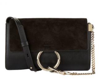 Chloe Black Suede Small Faye Crossbody Bag