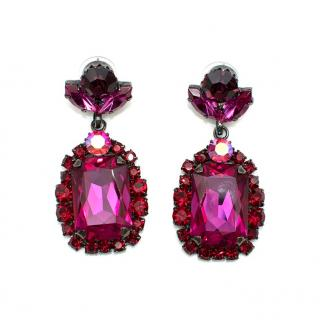 Bespoke Pink Crystal Embellished Earrings