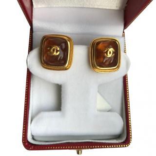 Chanel Resin Square Vintage Earrings