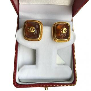 Chanel CC Amber poured resin Vintage Earrings