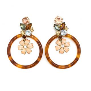J.Crew Tortoiseshell Crystal Embellished Hoop Earrings