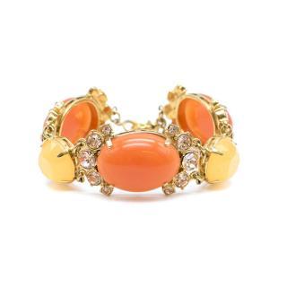 J.Crew Orange Faceted Stones & Crystals Bracelet