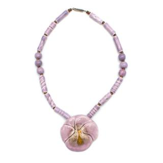 Bespoke Violet Enamel Flower Necklace