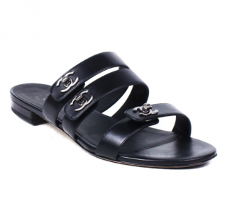 Chanel Black Leather Strappy Sandals
