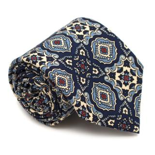 Drake's Navy Printed Silk Tie