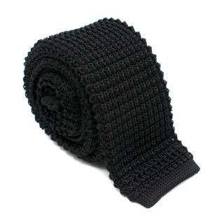 Lanvin Black Knit Silk Square Tie