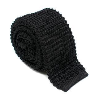 Lanvin Black Knit Silk Square Tie