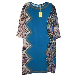 Etro Blue Printed Silk Shift Dress