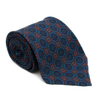 Drake's Silk Blue Printed Tie