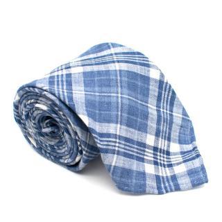 Drake's Linen Blue Check Tie