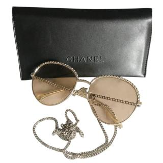 Chanel Chain Trim Oversize Sunglasses