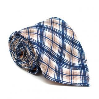 Doriani Navy & Beige Check Silk Tie