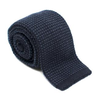 Loro Piana Cashmere Navy Knit Tie