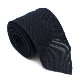 Emma Wills Silk blend Textured Navy Tie