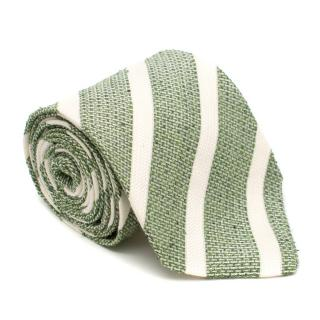 Petranius Silk blend Green Striped Tie