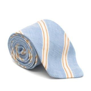 E. Marinella Linen Blue Striped Tie