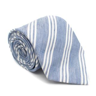 Anderson & Sheppard Linen Blue Striped Tie