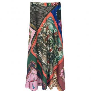Boutique Moschino Printed Silk Midi Skirt