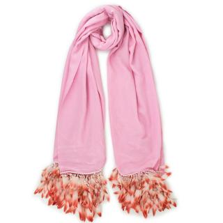 Bespoke Pink Cotton blend Feather Shawl