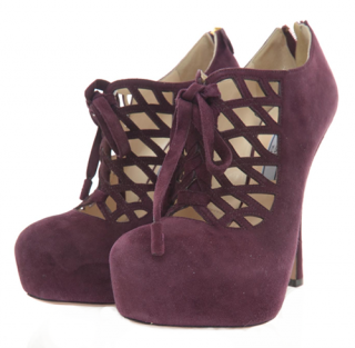 Prada Suede Caged Lace Up Booties