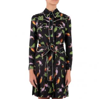 Gucci Silk Belted Parrot Print Dress