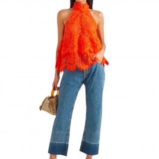 Ganni Lace Halterneck Orange Dress