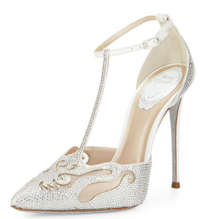 Rene Caovilla White Crystal-Embellished T-Bar Pumps