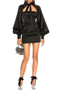 Attico Black Satin Priscilla Dress